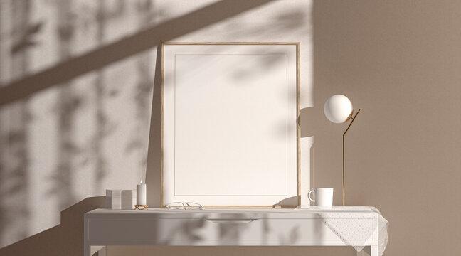 Blank wood quad vertical frame mockup interior background