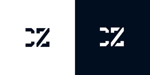 Fototapeta Creative abstract initial letter CZ logo. obraz