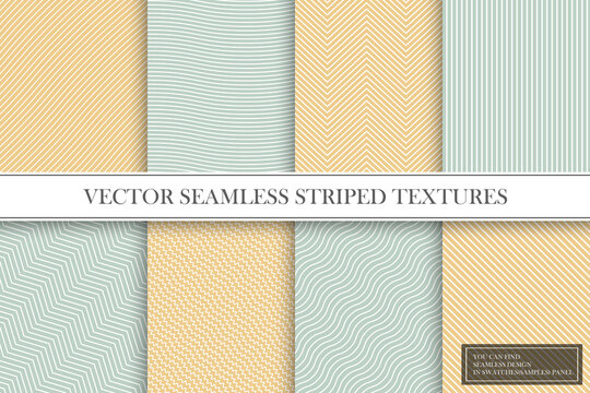Collection of seamless striped patterns. Fabric vintage textures. You can find repeatable backgrounds in swatches panel