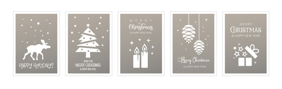 Set of christmas and happy new year greeting cards silver coloured background. Four Vector Illustrations postcards with lettering calligraphy decorative ornament elements