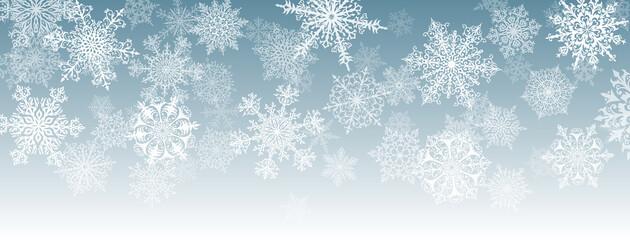 Fototapeta Illustration of big white complex Christmas snowflakes on gray background obraz
