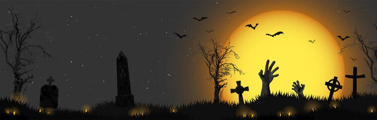 Fototapeta Halloween zombie hands in front of full moon obraz