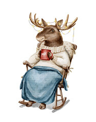 Obraz Watercolor Christmas vintage man moose in sweater clothes and plaid holding holiday hot drink in rocking chair isolated on white background. Hand drawn illustration sketch - fototapety do salonu