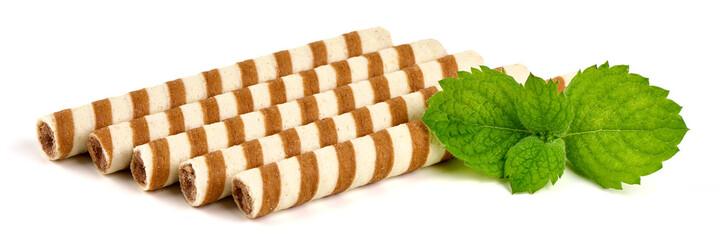 Fototapeta Tasty wafer roll sticks, isolated on white background. obraz