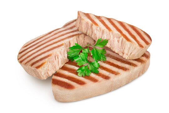 Tuna fish steak grilled isolated on white background with clipping path and full depth of field