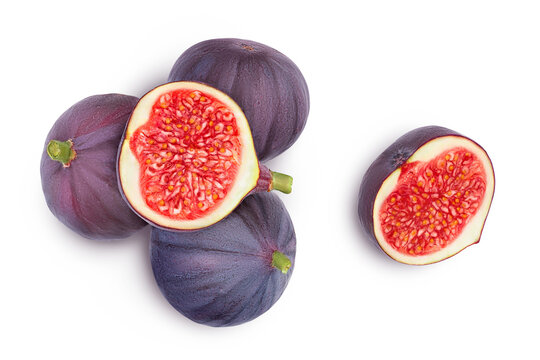 fig fruits isolated on white background with clipping path. Top view. Flat lay
