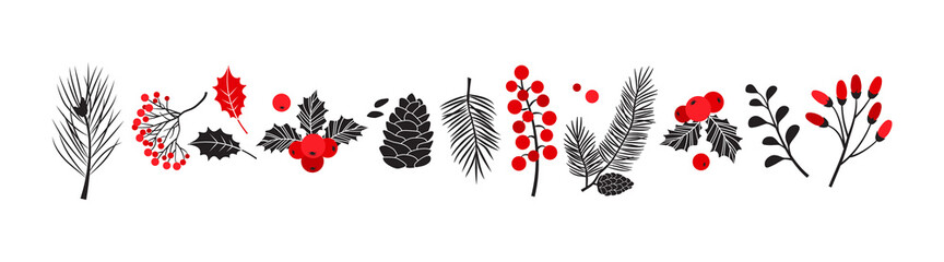 Fototapeta Christmas vector plants, holly winter decor, christmas tree, pine, leaves branches, holiday set isolated on white background. Red and black colors. Vintage nature illustration obraz