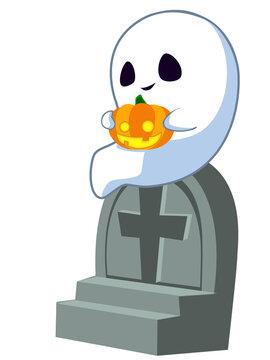 お墓に座った幽霊 ハロウィン素材のアイコン/イラスト素材
