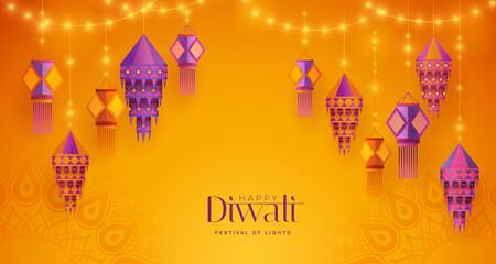 Fototapeta Happy Diwali. Group of paper graphic Indian lantern on Indian festive theme big banner background. The Festival of Lights. obraz
