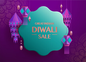 Fototapeta Great Indian Diwali Sale. Flower shaped gift tag with group of paper graphic Indian lantern. The Festival of Lights. obraz