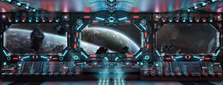 Dark spaceship interior with glowing blue and red lights. Futuristic spacecraft with large window view on planets in space. 3D rendering