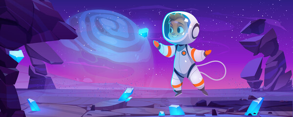 Cute astronaut on alien planet in space. Baby cosmonaut in suit and helmet flying in weightlessness catch glowing crystal on extraterrestrial landscape with rocks around, Cartoon vector illustration