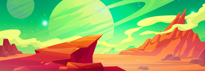 Obraz Mars landscape, alien planet background, red desert surface with mountains, saturn and stars shine on green sky. Martian extraterrestrial computer game scenery backdrop, cartoon vector illustration - fototapety do salonu