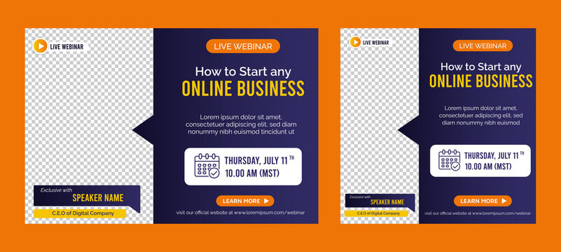 Online Business live webinar banner invitation and social media post template. Business webinar invitation design