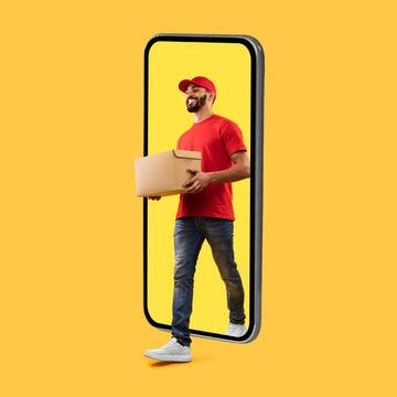 Arab Courier Coming Of Big Phone Screen Carrying Box, Studio