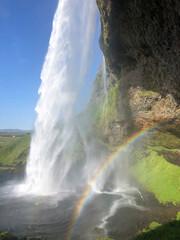 Fototapeta Seljalandsfoss waterfall on the southern coast of Iceland on a sunny day obraz