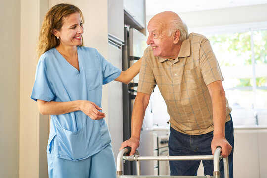 Friendly caregiver in the care of senior
