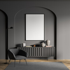 Obraz Dark living room interior with armchair and drawer with decoration, mockup poster - fototapety do salonu