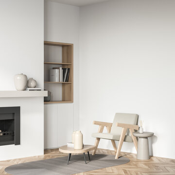Light living room interior with armchair and fireplace, mockup