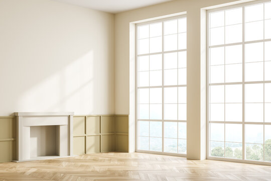 Light living room empty interior with fireplace and window, mockup copy space