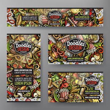Cartoon vector doodle set of Fastfood corporate identity template