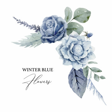 A watercolor vector winter wreath with dusty blue flowers and branches.