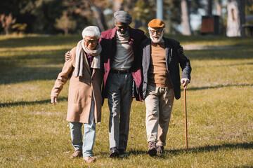 Fototapeta African american man hugging interracial friends while walking in park obraz