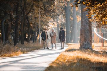 Fototapeta Multiethnic senior men talking near african american friend in autumn park obraz
