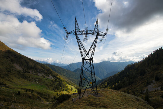 High voltage pylon in the mountains