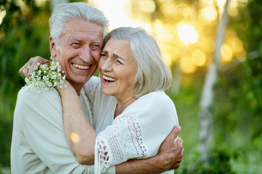 Portrait of beautiful senior couple in the park
