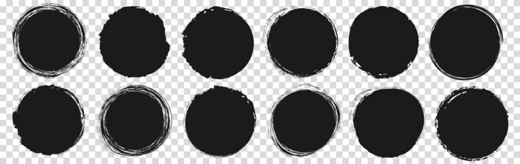 Obraz set of vector round brush painted ink stamp circle banner on transparent background - fototapety do salonu