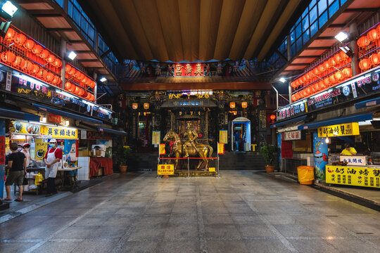 October 4, 2021: Dianji Temple and Miaokou Night Market in keelung, taiwan. It is one of the most famous night market in taiwan with more than 200 food stands gather in the area of 400 meter here.