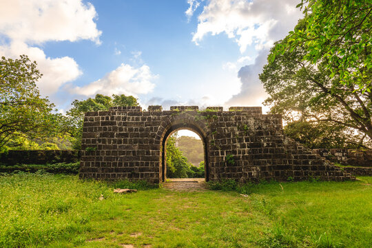 Main gate of Ershawan Battery at keelung city in taiwan