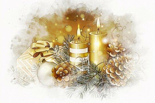Illustration de Noël, bougies allumées