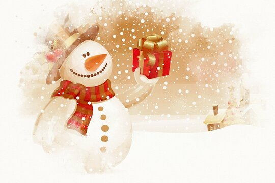 Illustration de Noël, bonhomme de neige
