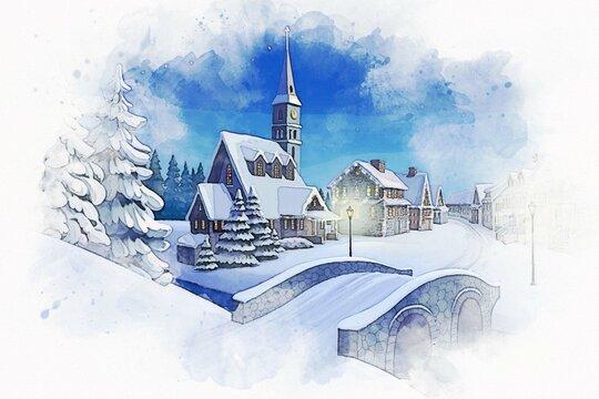 Illustration de noël, paysage d'hiver