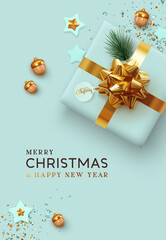 Merry Christmas and Happy New Year. Xmas Background realistic design blue gifts box, festive decorative objects. flat lay top view. Holiday poster, web banner, flyer, stylish brochure, greeting card