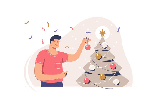 Christmas tree decoration. Smiling man decorating xmas tree for celebrating merry christmas and happy new year. Preparation for xmas party.  Vector illustration.