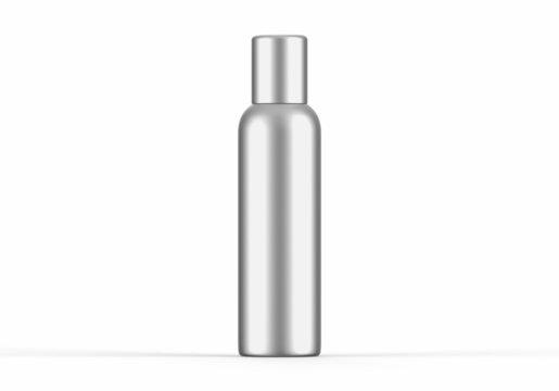 Metallic aerosol deodorant can mockup template on isolated white background, 3d illustration