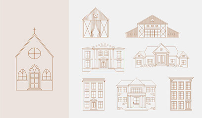 Obraz Set of hand drawn building illustrations featuring church, apartment building and more in vector. - fototapety do salonu