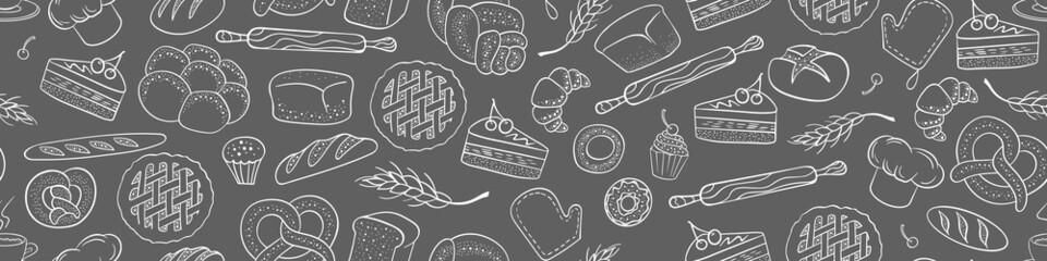 Fototapeta Bakery seamless horizontal border. Hand drawn pastry doodles. Cafe and restaurant background. vector illustration. obraz