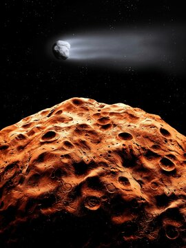 Comet flies over the surface of the rocky red planet. Craters of an earth-like planet. Space landscape.
