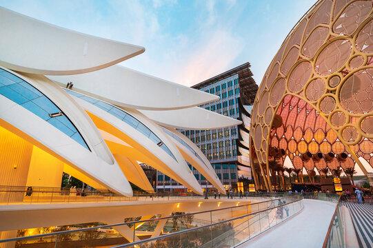 Dubai, United Arab Emirates - October 3, 2020: United Arab Emirates Pavilion at the Dubai EXPO 2020 in the UAE with Al Wasl Plaza