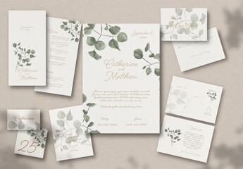 Fototapeta Wedding Stationary Eucalyptus obraz