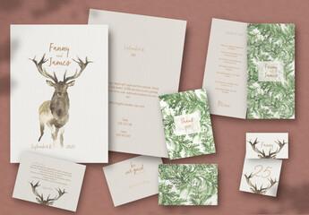 Fototapeta Wedding Stationary Deer Christmas obraz