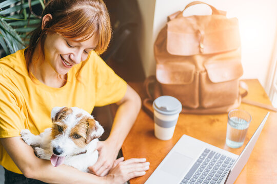 Young woman working with laptop and hugging her cute Jack Russell Terrier at home. Lovely pet concept.