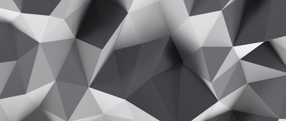 Obraz Abstract white and gray geometric polygon minimal subtle background - fototapety do salonu