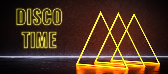 Fototapeta abstract geometric construct and neon message DISCO TIME obraz