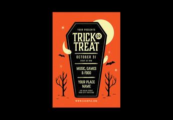 Obraz Vintage Trick or Treat Event Flyer Layout - fototapety do salonu