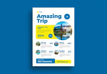 Obraz Holiday Trip Event Flyer Layout - fototapety do salonu